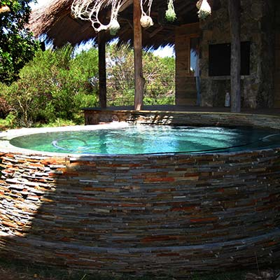 A natural pool with ozone sanitation.